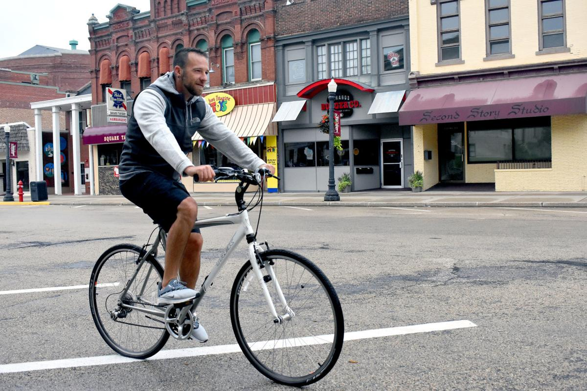 Kirk Knight rides bicycle