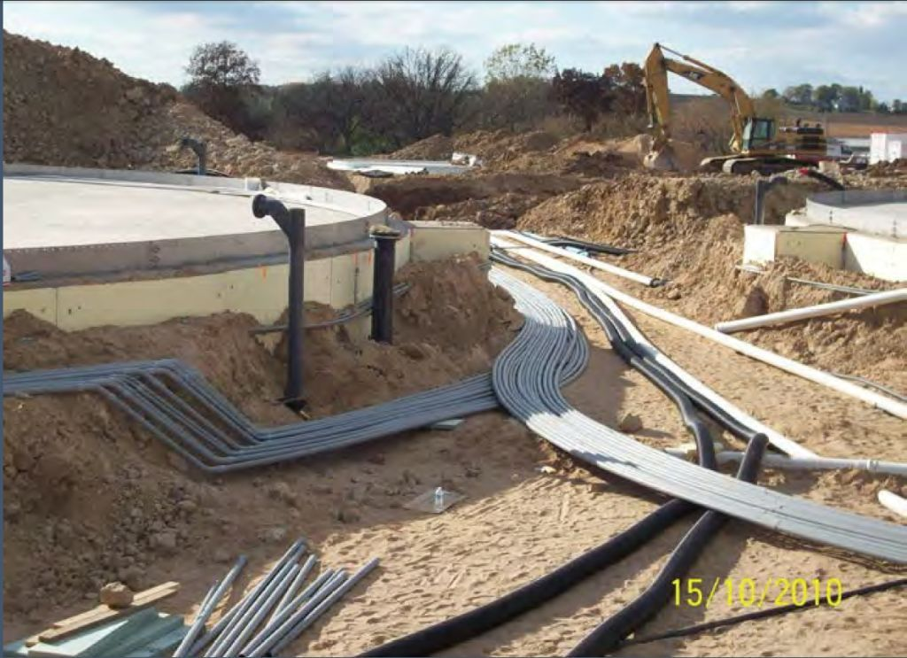 Pipes laid out during construction of Clear Horizons biodigester
