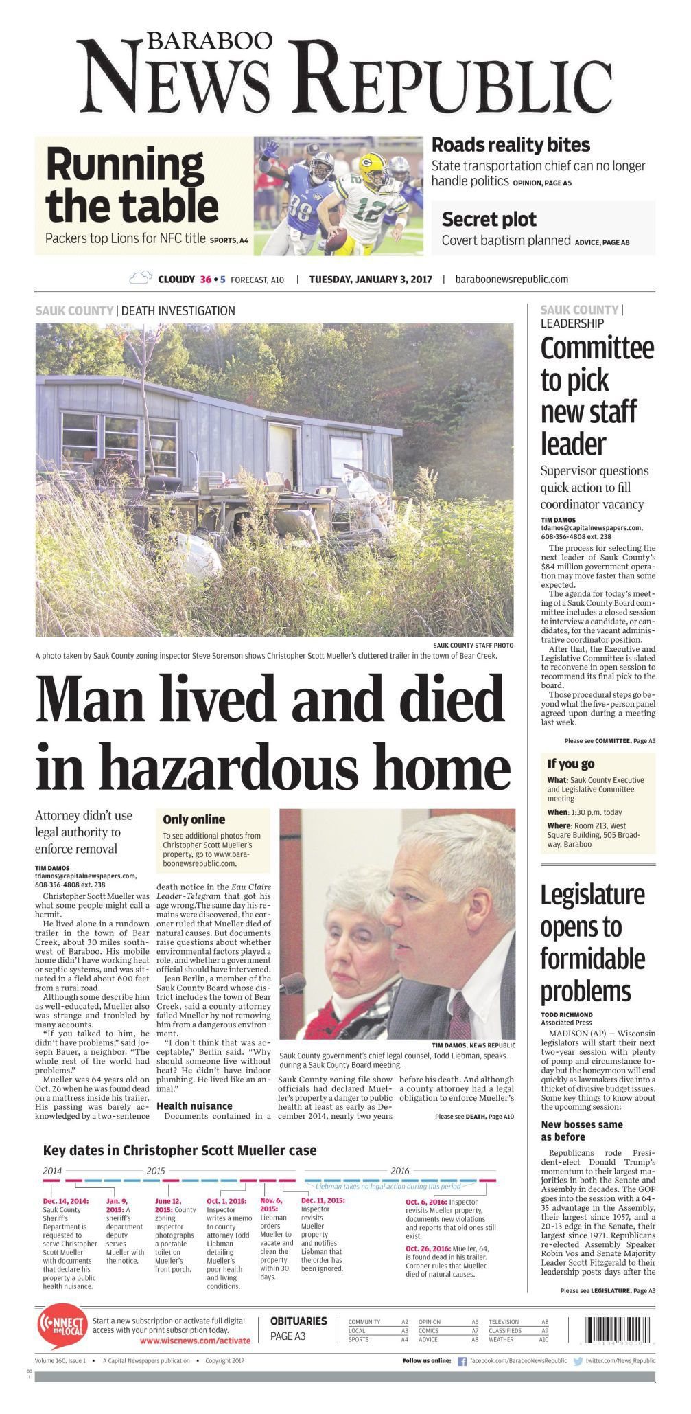 Sauk County man lived, died in health hazard