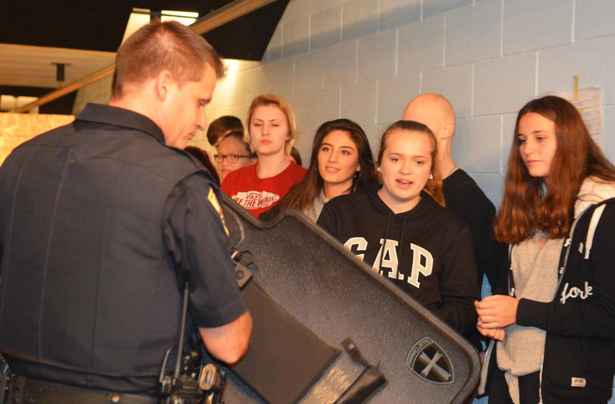 German students at Portage Police station