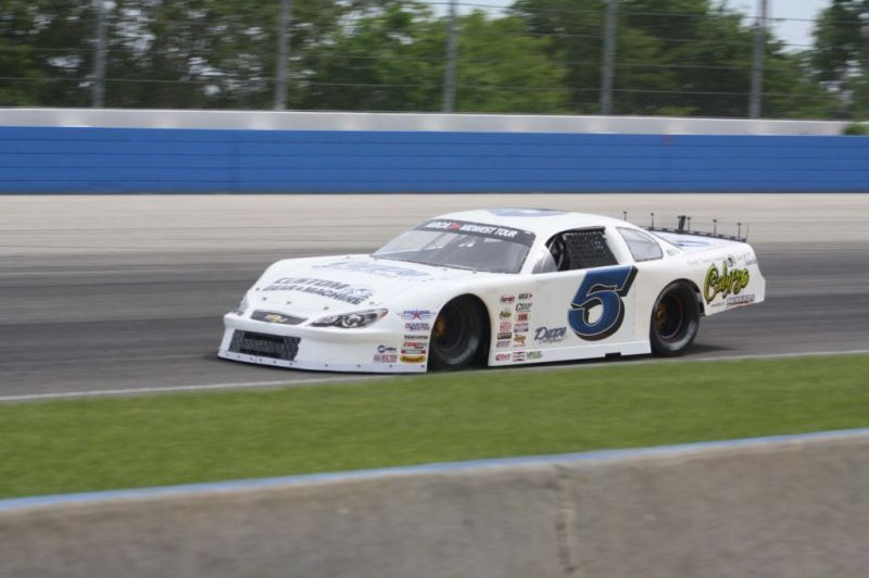 Johnny Sauter in his Calypso-sponsored car on the Milwaukee Mile