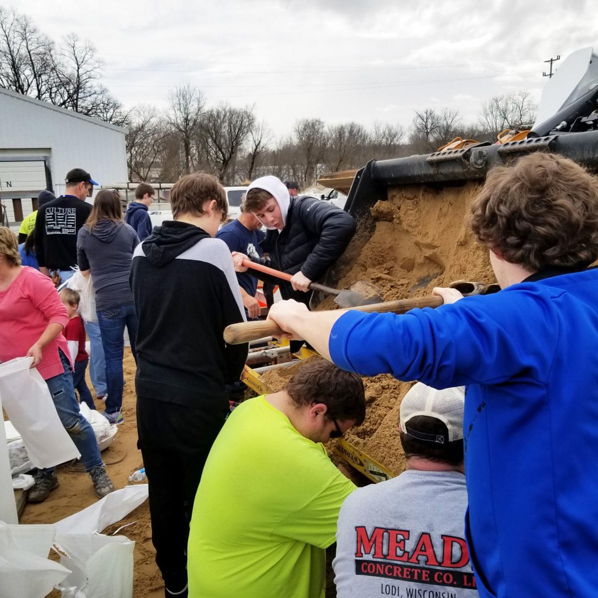 Filling up sandbags in Lodi