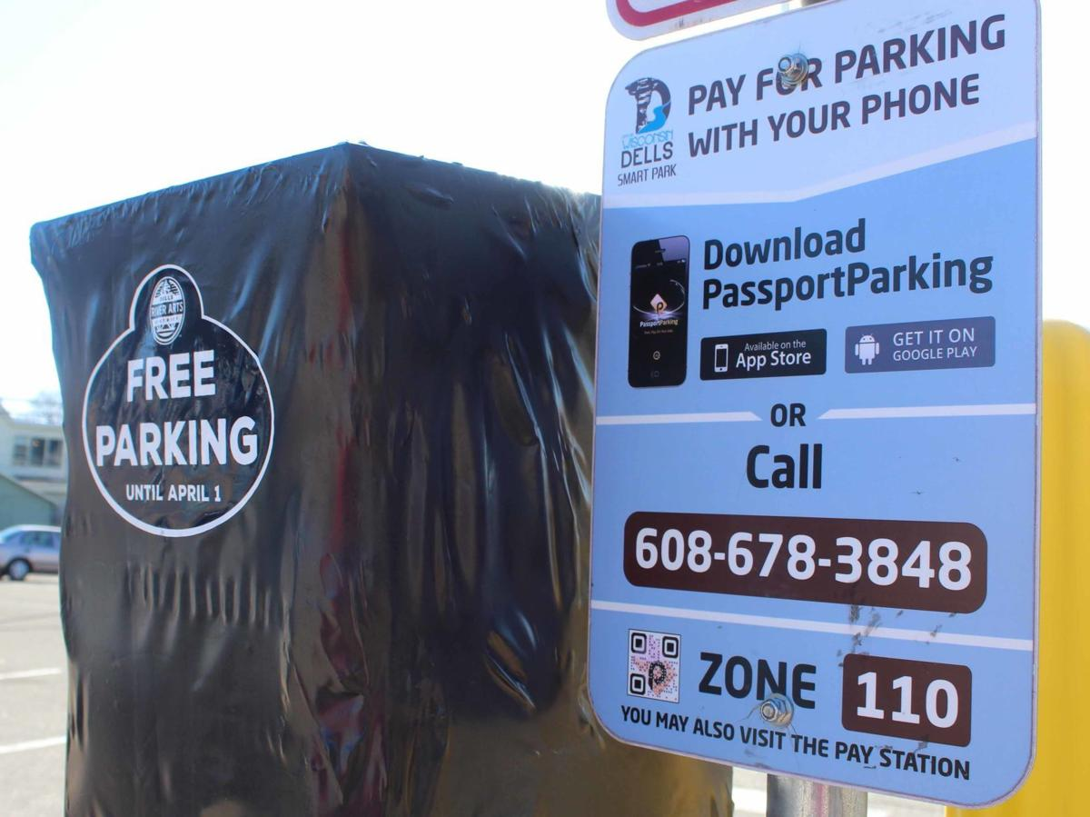 Dells parking kiosk with sign
