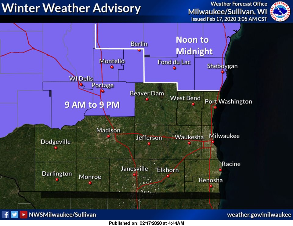 Winter weather advisories by National Weather Service