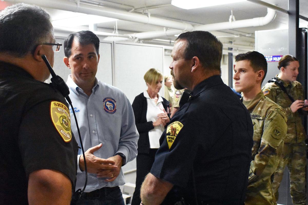 Scott Walker Portage Flood Visit