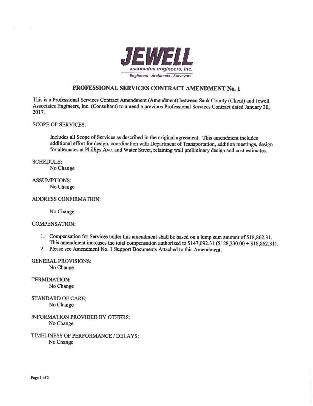 Jewell Associates Engineers contract amendment 1