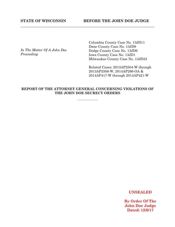 Attorney General report on John Doe leak