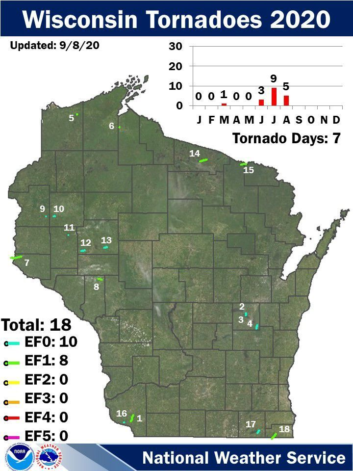 2020 Wisconsin tornadoes by National Weather Service