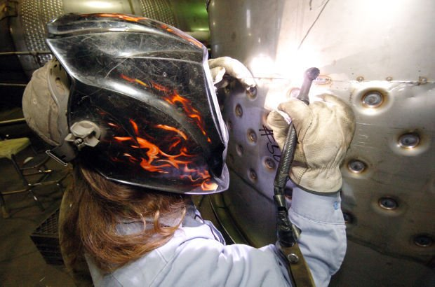 Welding at W.M. Sprinkman Corp. in Elroy