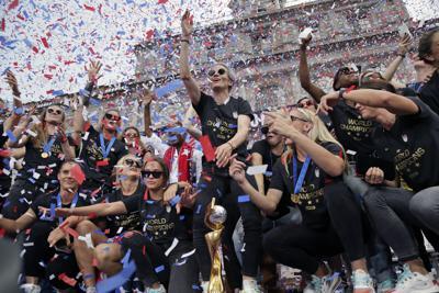 Women's World Cup Soccer celebration, AP photo