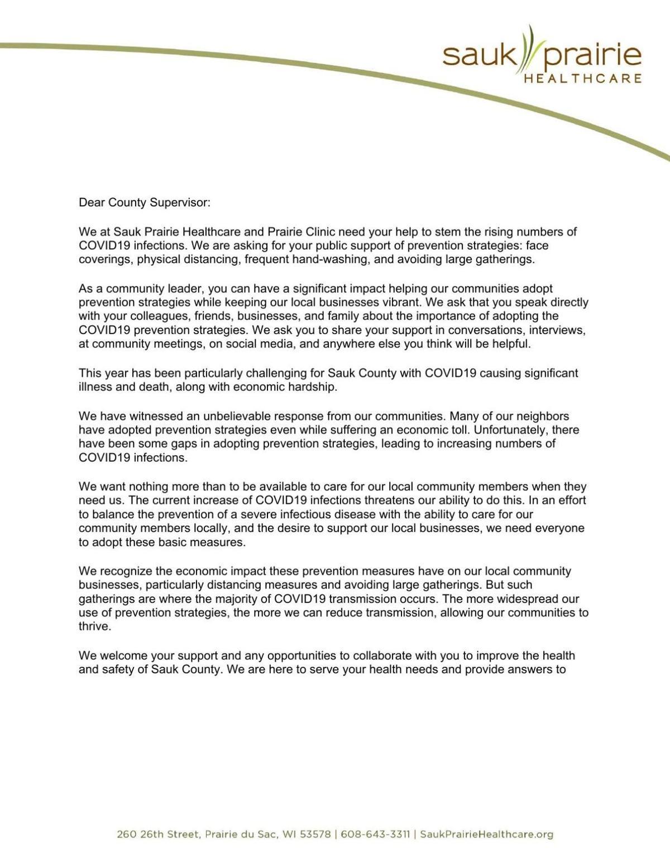 Letter from Sauk Prairie Healthcare