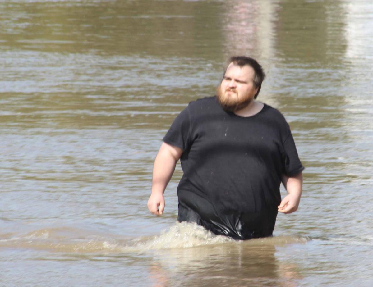 Ryan walks in water
