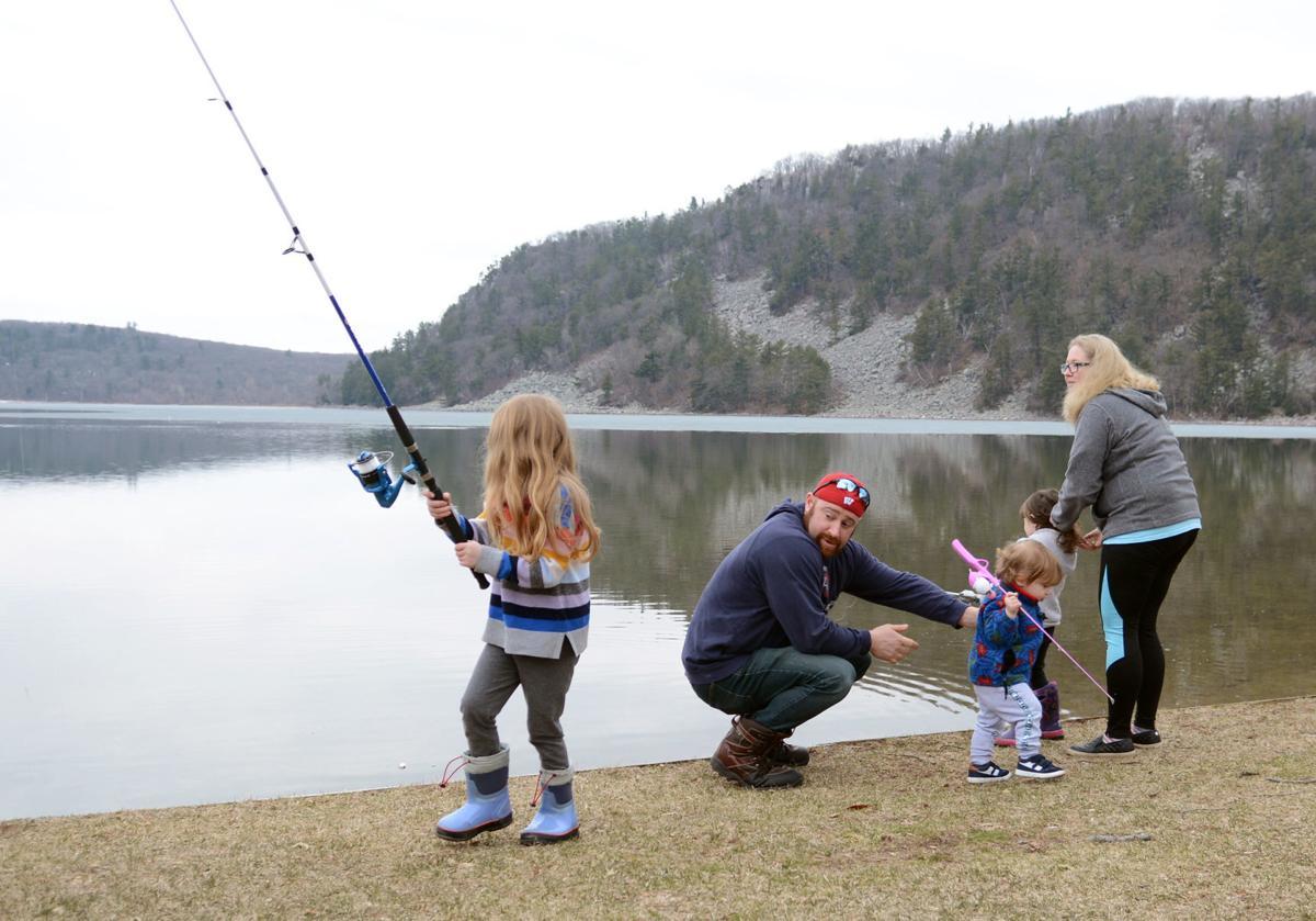 Family fishing at Devil's Lake