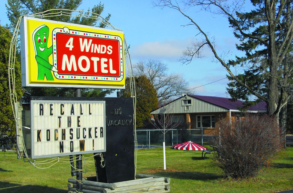 Four Winds Motel recall sign