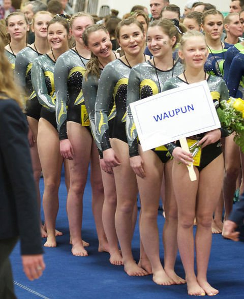 Waupun Gymnastics Team March-in At State