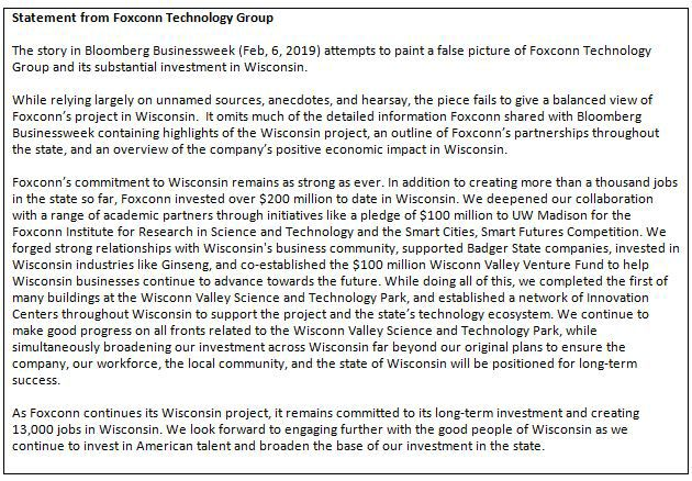 Foxconn statement on Bloomberg Businessweek story