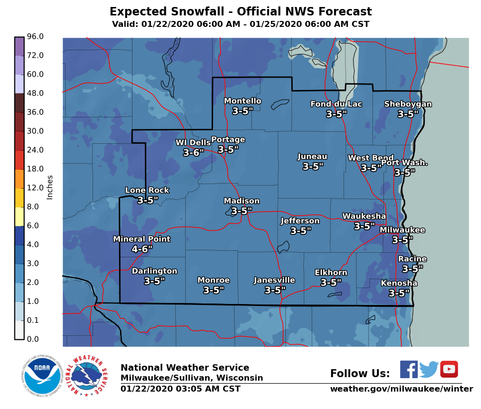 Snow forecast through Saturday by National Weather Service