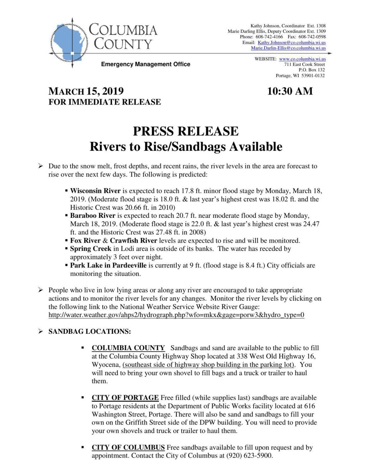 Friday, March 15, 2019 Flooding Release