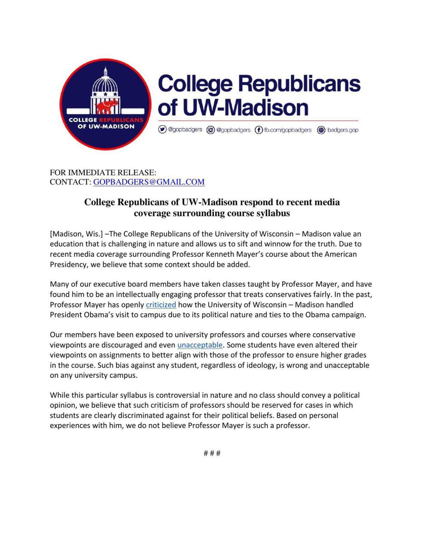 UW-Madison College Republicans statement