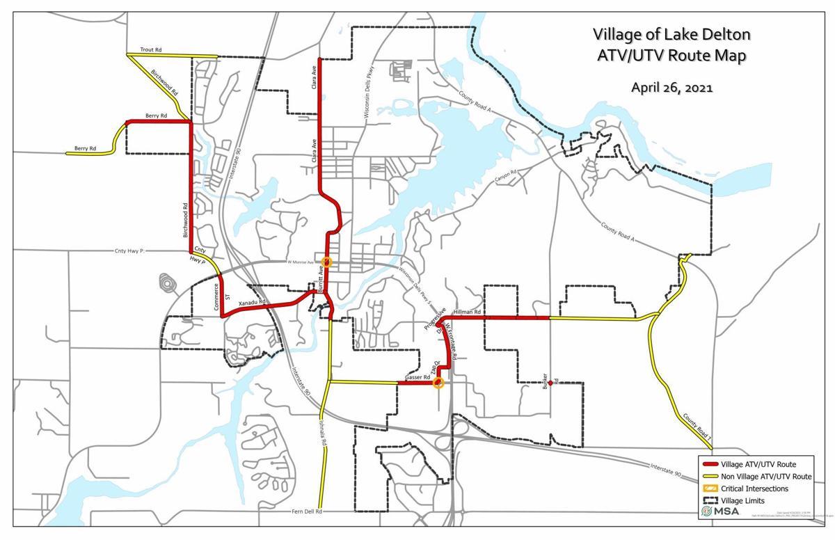 Lake Delton ATV/UTV route map