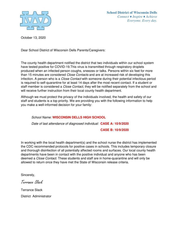 Wisconsin Dells School District COVID-19 letter Oct. 13