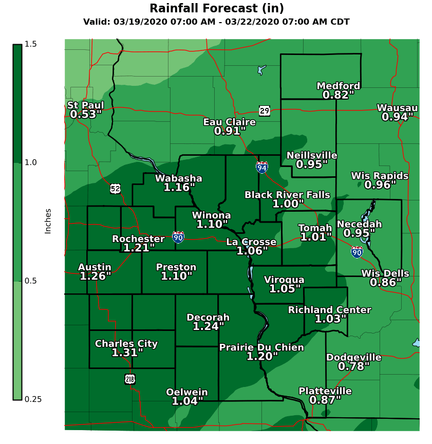 Rain totals western Wisconsin Thursday-Friday by National Weather Service