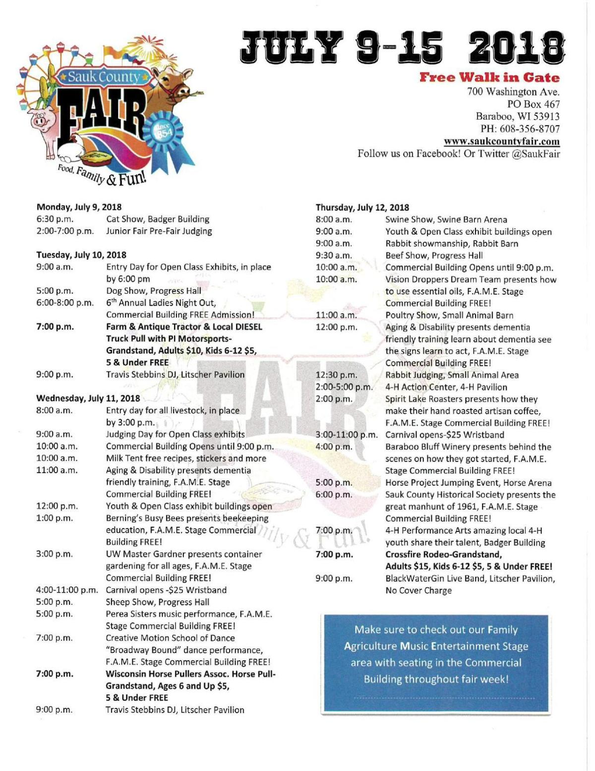 Sauk County Fair schedule