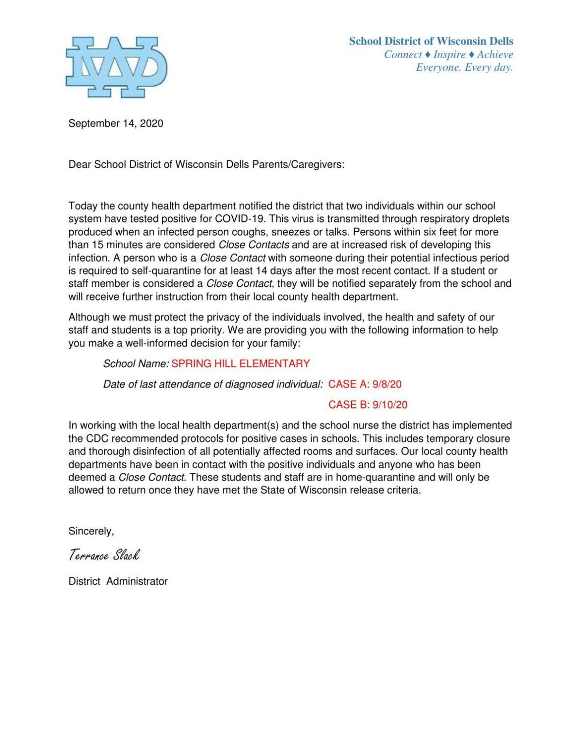 Letter to Parents of Spring Hill Elementary School COVID-19 cases