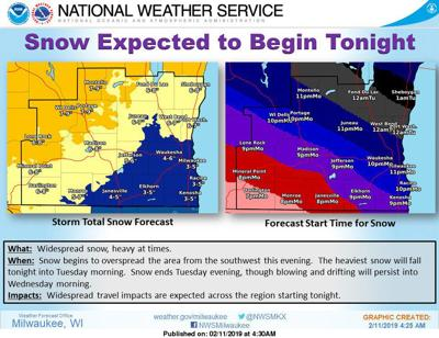 National Weather Service snow forecast graphic 2-11-19