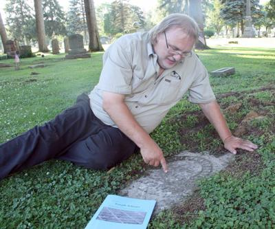 Rick Rossin at Shorer gravesite