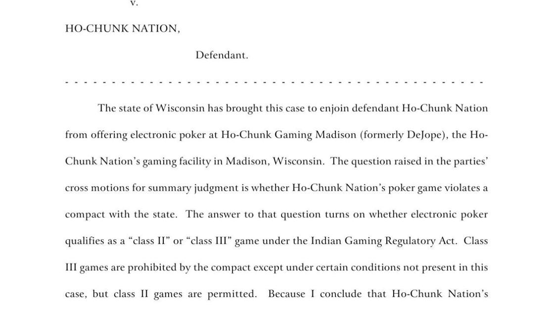 Judge rules that Ho-Chunk's Madison casino must remove video poker
