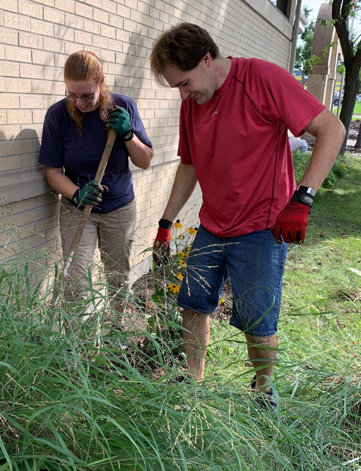 Portage Public Library landscaping