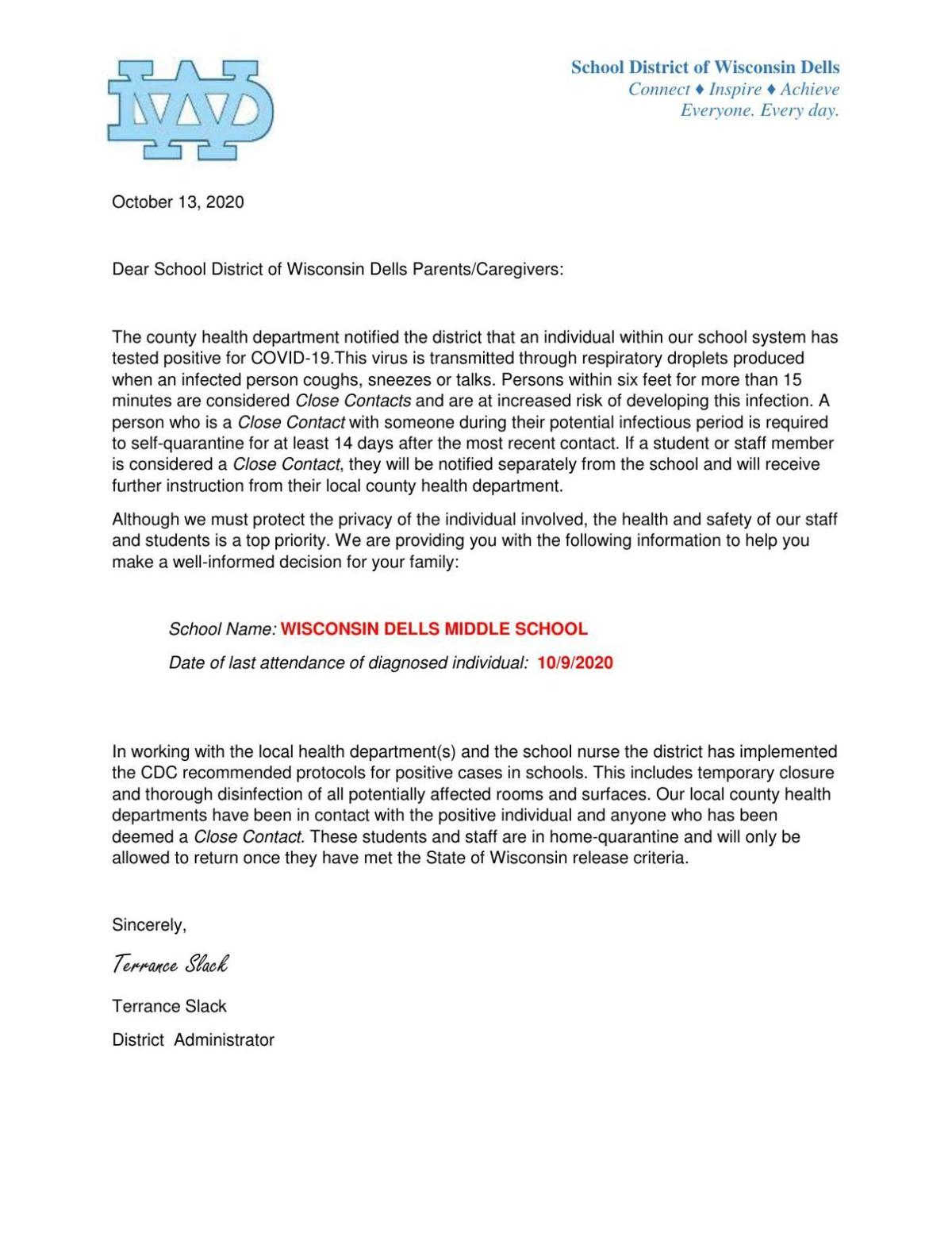 Wisconsin Dells School District Oct. 13 COVID-19 letter middle school