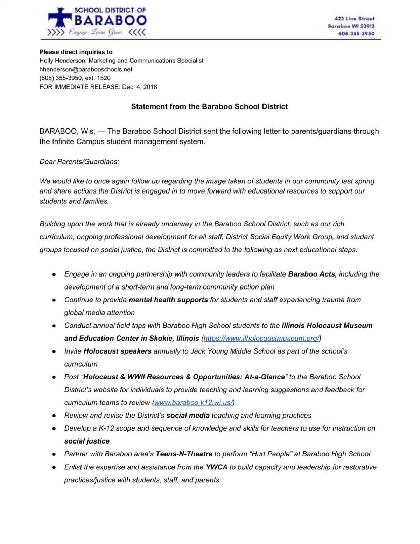 Baraboo School District Letter to Parents, Dec. 4