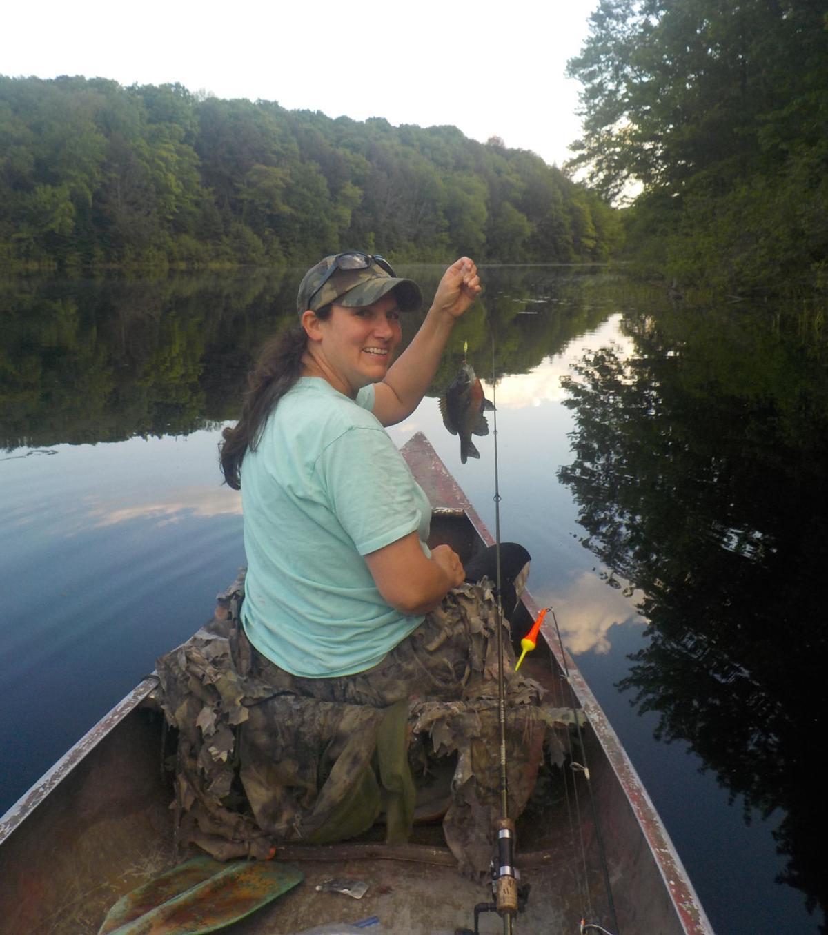 Michelle fishing Porcupine Lake