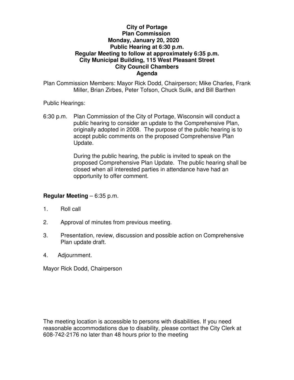 2030 Comprehensive Plan from Plan Commission meeting