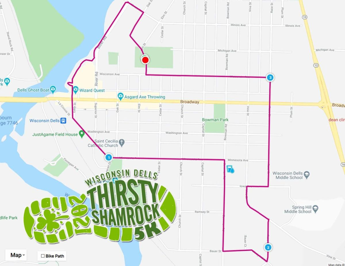 Route for Dells Thirsty Shamrock run