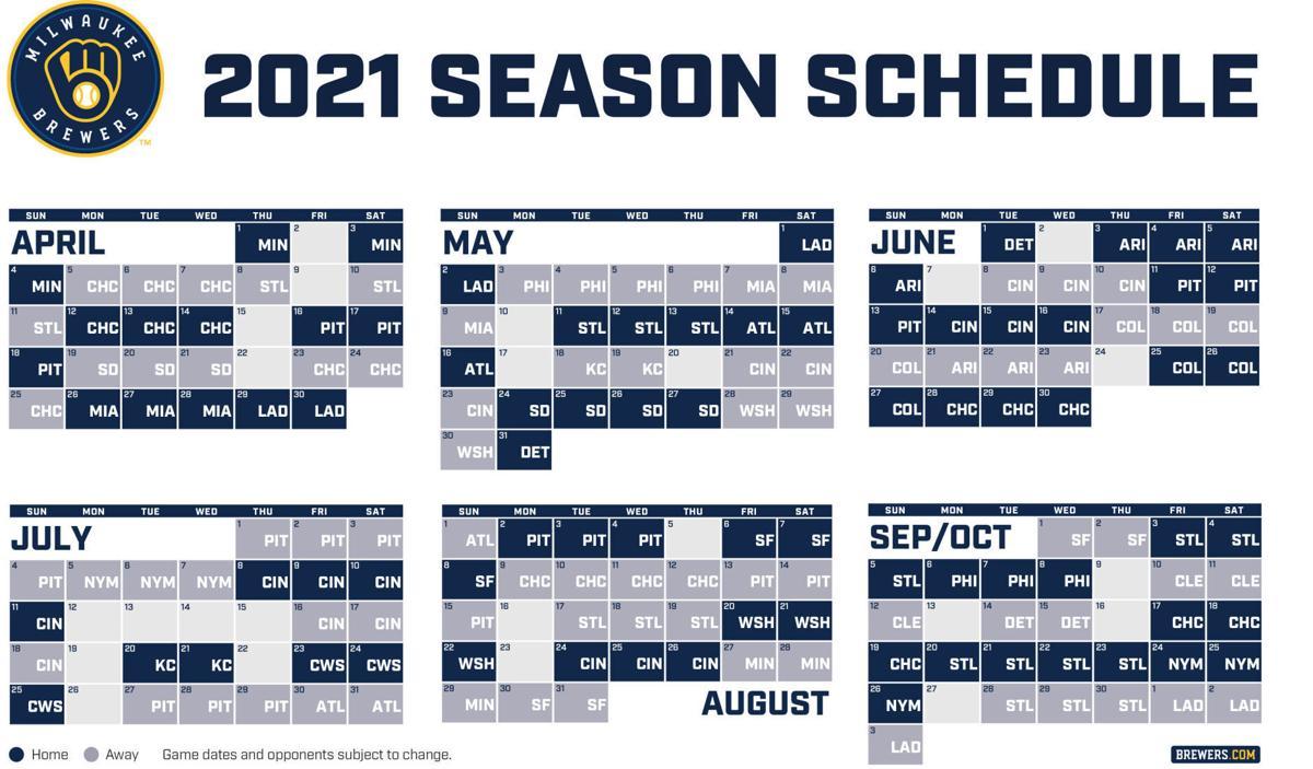 Milwaukee Brewers 2021 schedule