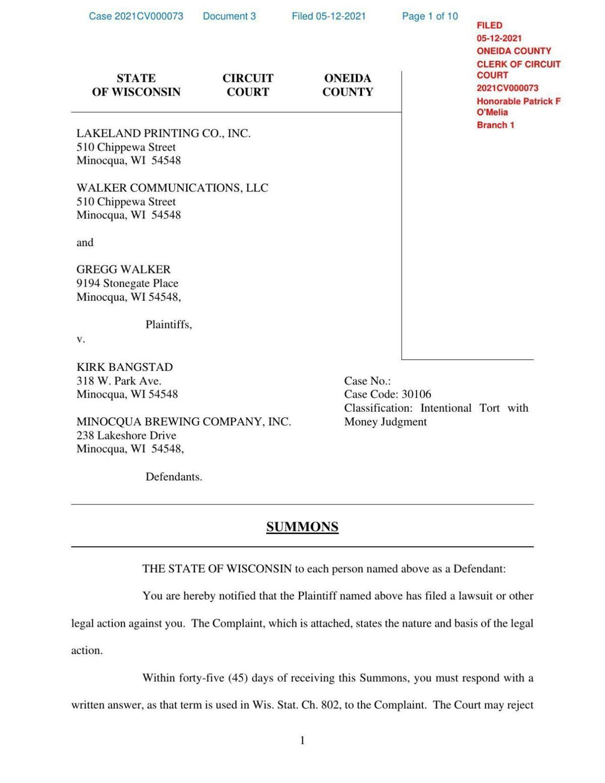 Walker/Lakeland Times v. Bangstad/Minocqua Brewing