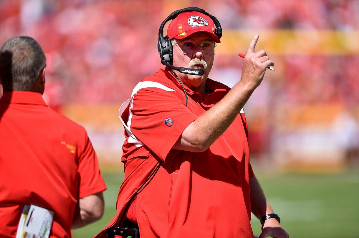Kansas City Chiefs head coach Andy Reid gestures in the second quarter as the Chiefs trail the Los Angeles Chargers 14-0 at GEHA Field at Arrowhead Stadium, Sunday, September 26, 2021 in Kansas City, Missouri.