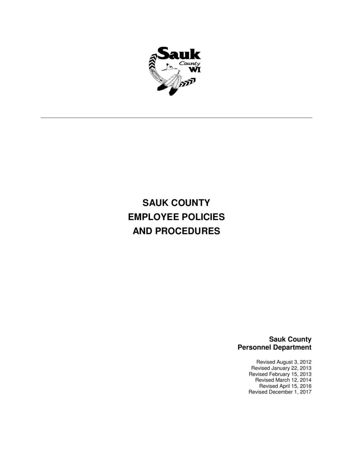 Sauk County Personnel Policies