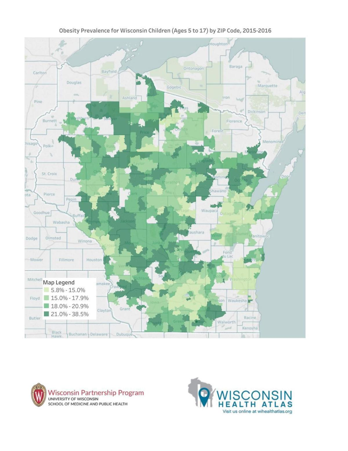 Child obesity map by ZIP code | State-and-regional | wiscnews.com on