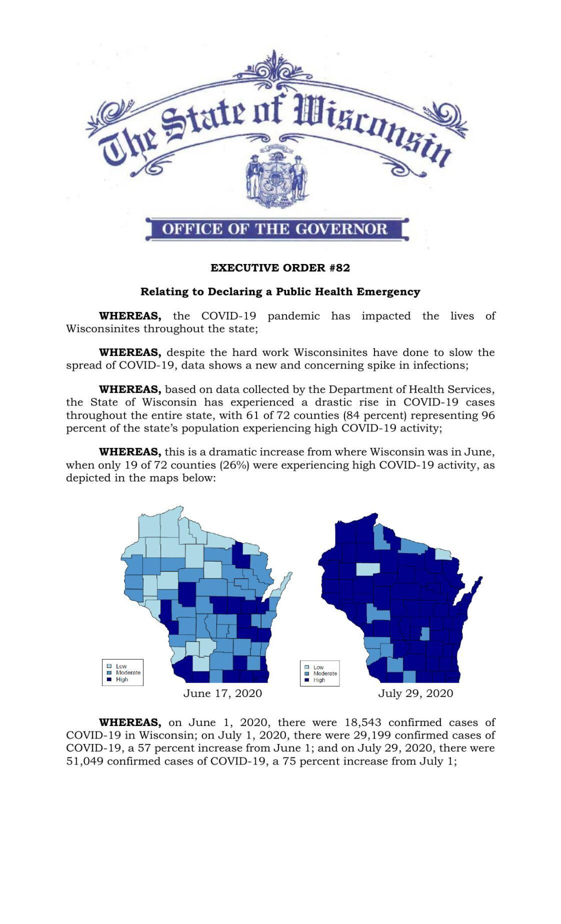 Gov. Tony Evers' executive order 82 declaring a public health emergency