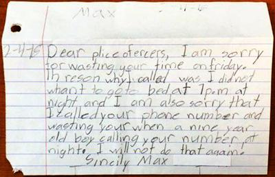 Boy's apology to police