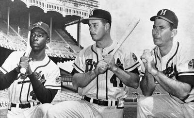 Hank Aaron, Eddie Mathews, Joe Adcock - 1957