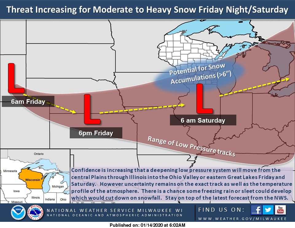 Friday-Saturday storm forecast by National Weather Service