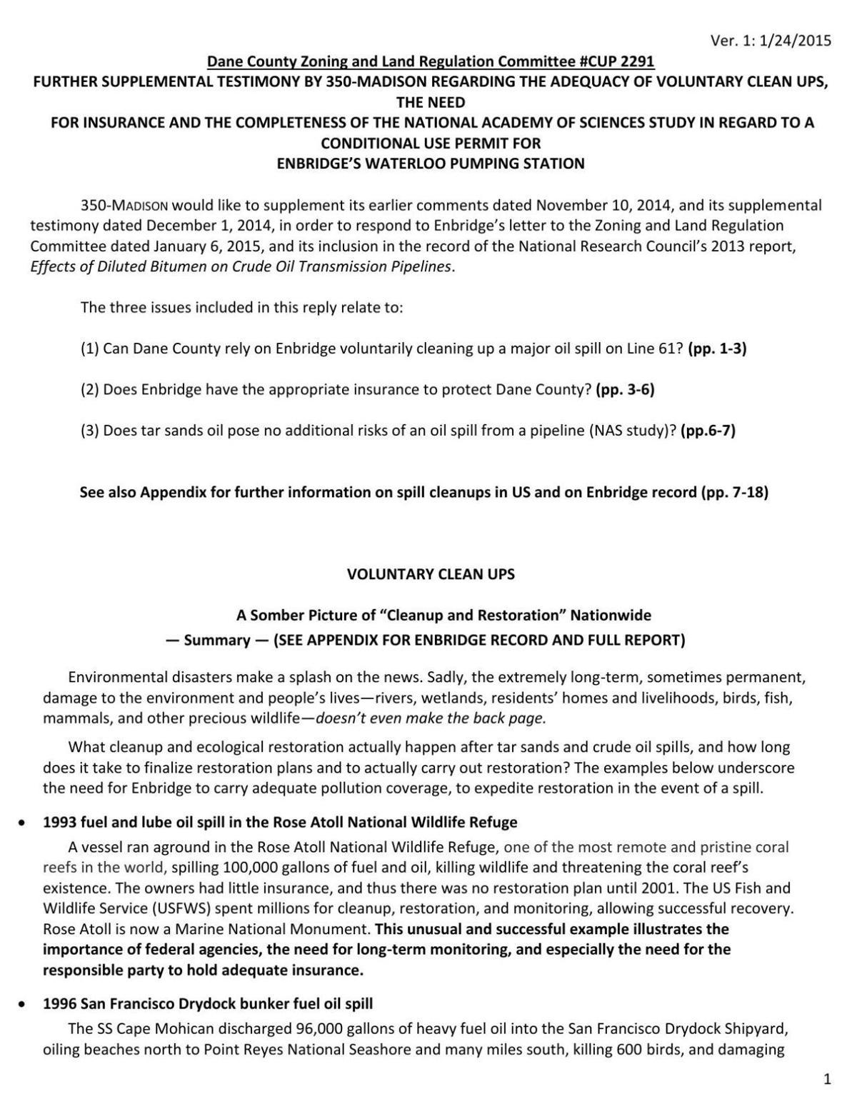 350.org 1/24/15 supplemental testimony