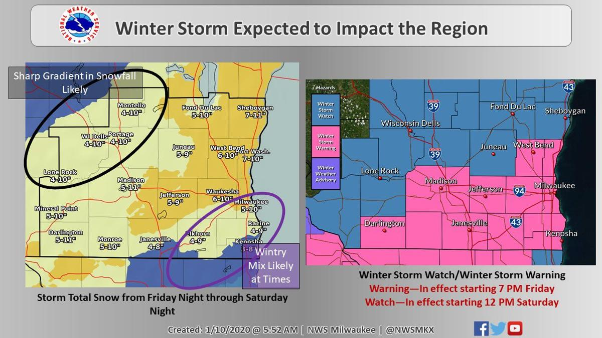 Storm warning, watch areas by National Weather Service