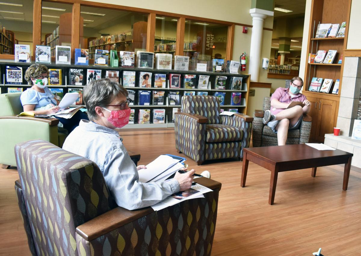 Distanced meeting at Portage library