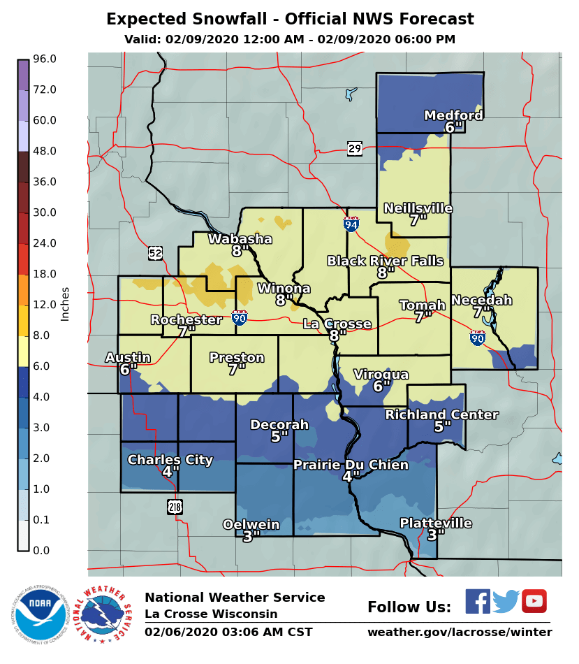 Predicted snow totals Saturday-Sunday storm by National Weather Service La Crosse